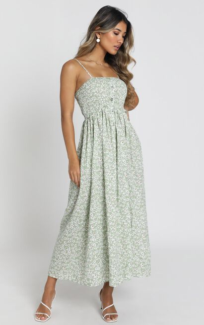 Phoenix Shirred Bodice Midi Dress in green floral - 6 (XS), Green, hi-res image number null