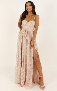 Tear Drops Dress In Blush Floral