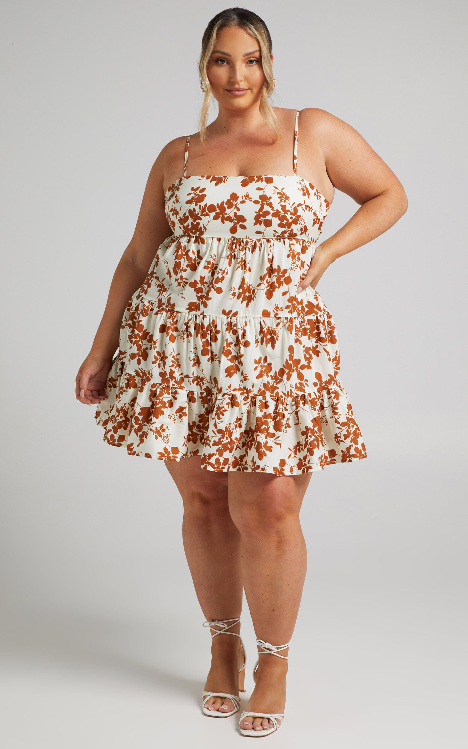 Lorelle Straight Neck Tiered Mini Dress in Shadow Floral - 04, BRN1, super-hi-res image number null