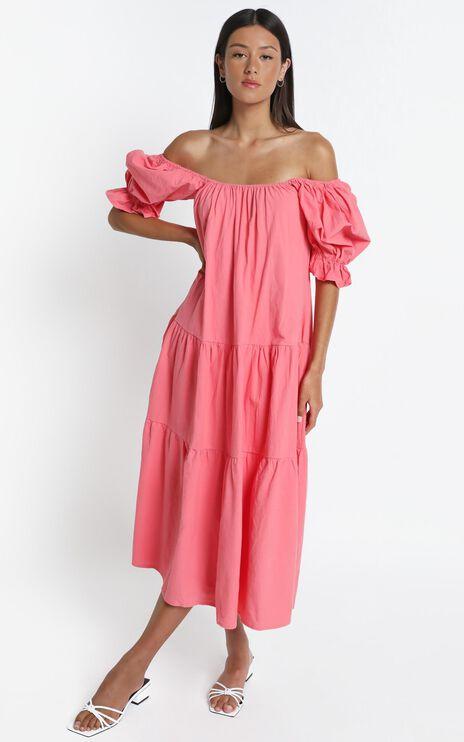 Zaharrah Dress in Coral Linen Look