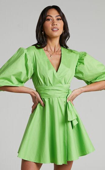Zyla Puff Sleeve Wrap Mini Dress in Green