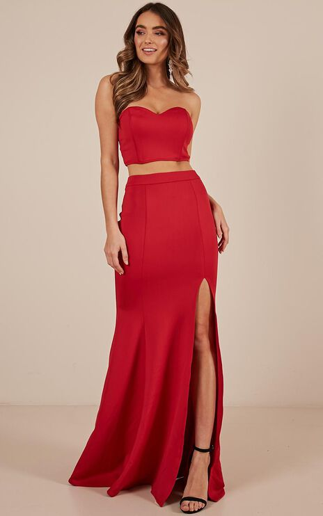 Sweet Delights Two Piece Set In Red