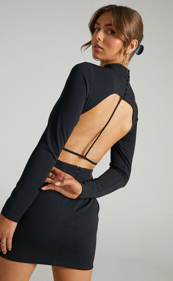Eden Open Back Mini Bodycon Dress in Black