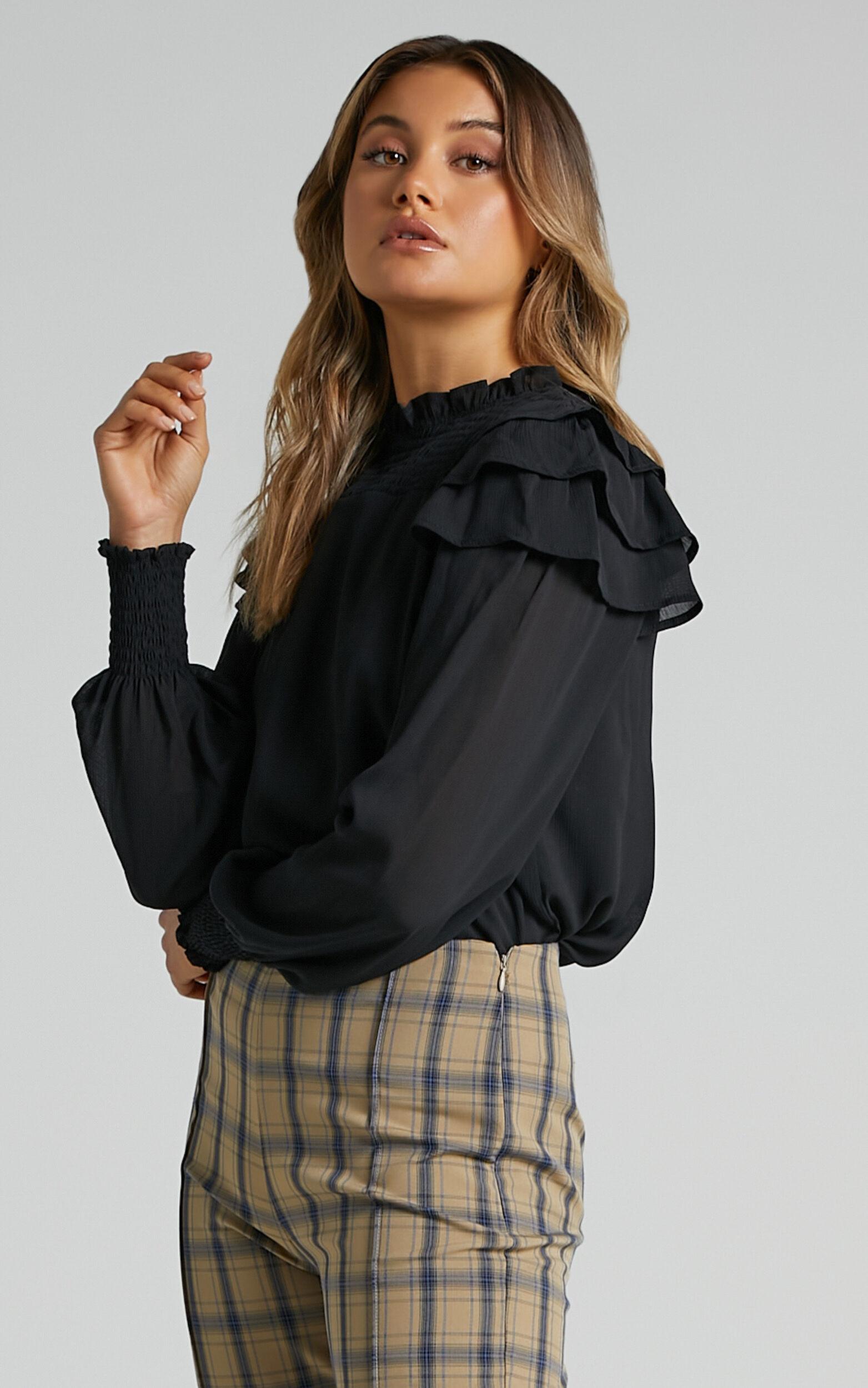 Zenobia Longsleeve Ruffle Top in Black - 04, BLK1, super-hi-res image number null