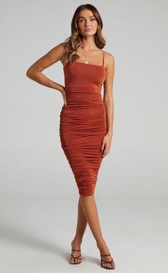 Commit To Me Bodycon Midi Dress in Rust