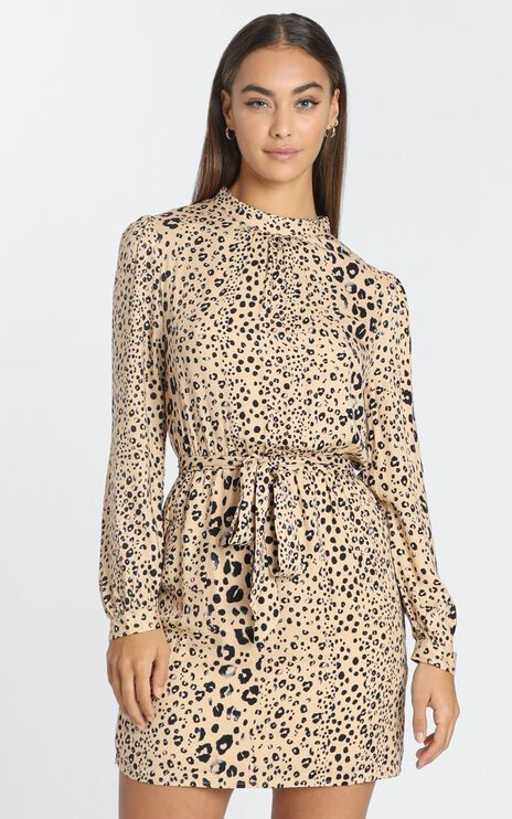 Luis Dress in Beige Leopard