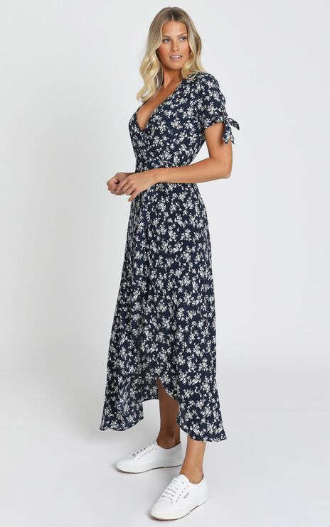 Picking It Up Maxi Wrap Dress In Navy Floral
