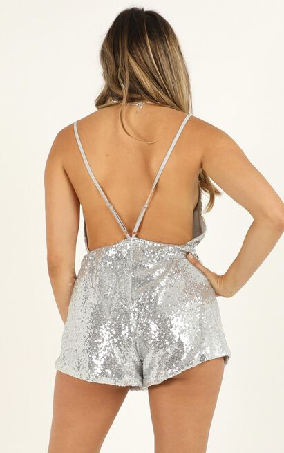 Feeling Hella Cool Tonight Playsuit In silver - 14 (XL), Silver, hi-res image number null