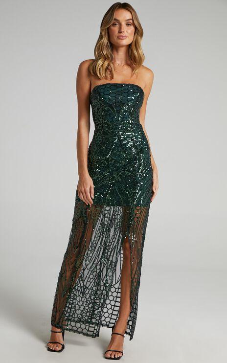 American Hero Maxi Dress In Emerald Sequin