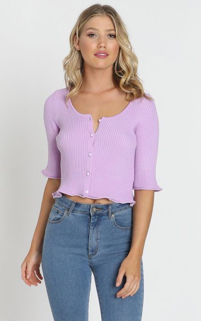 Lifting Spirits Cardigan in lilac- 20 (XXXXL), Purple, hi-res image number null