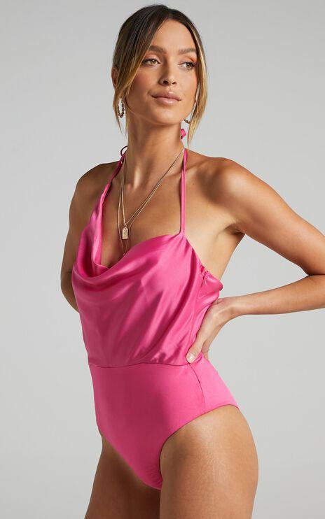 Aeneas Bodysuit in Pink Satin