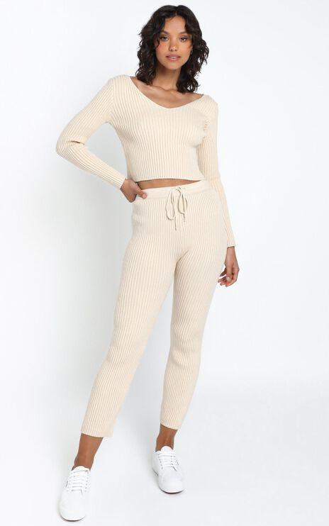 Gweneth Knit Pants in Beige