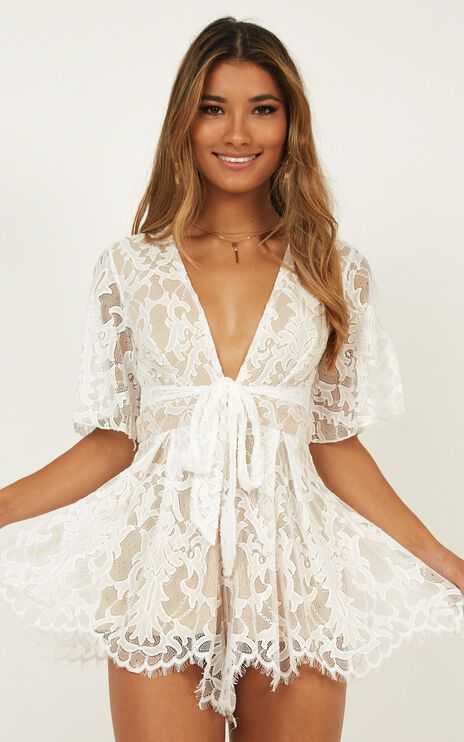 Break the Bar playsuit in white lace