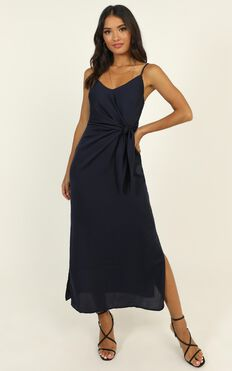 Forever Thinking Dress In Navy Satin
