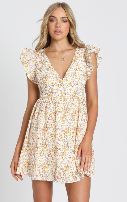 Back To Beginning Dress in yellow floral - 8 (S), Yellow, hi-res image number null