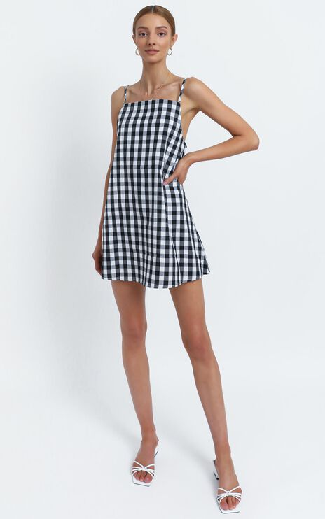 Berlina Dress in Black Check