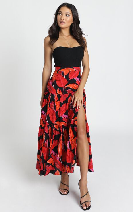 Brielle Skirt In Red Floral