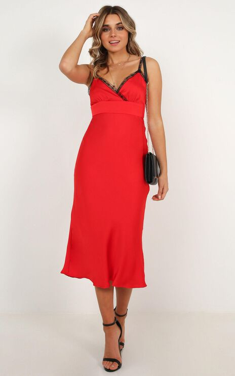 Through Fire Dress In Red Satin