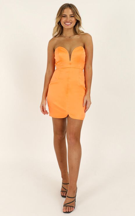 Going To Drive You Mad Dress In Tangerine Satin