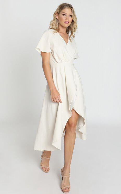 Fresh Look Wrap Maxi Dress In Beige Linen