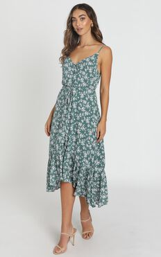 Hayley Midi Dress In Emerald Floral