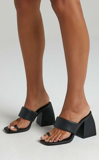 Public Desire - Caden Heels in Black PU