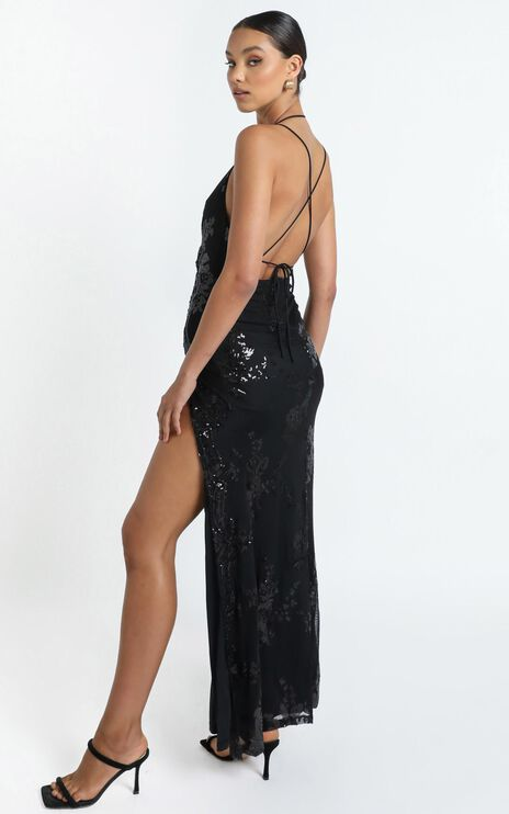 Out Till Dawn Dress In Black Sequin