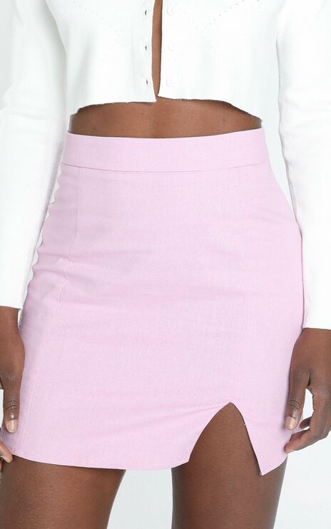 International Babe Skirt in Lilac Linen Look