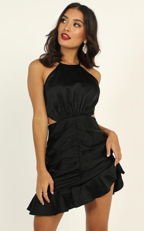 Be Humble Dress In Black Satin