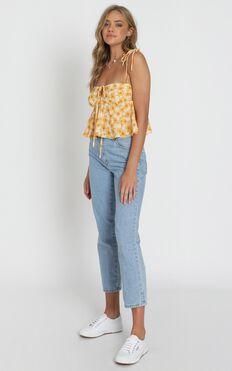 Aint No Sweetie Top In Sunflower Print