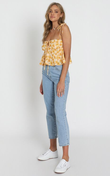 Aint No Sweetie Top In Sunflower Print