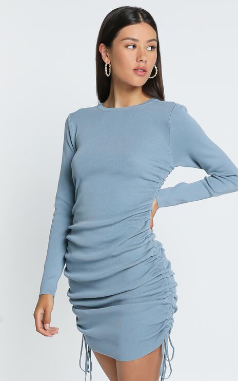 Lioness - Military Minds Long Sleeve Dress in Dusty Blue