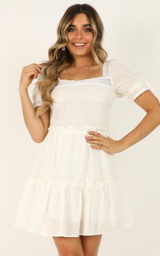 Stay Dedicated Dress In White