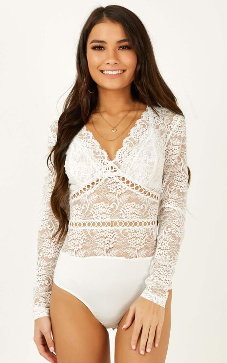 My Inspiration Bodysuit In White Lace