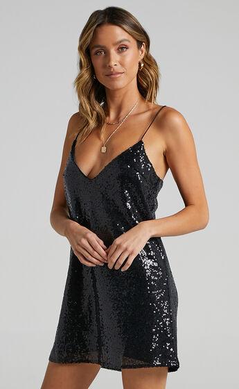 Nights In Vegas Dress in Black Sequin