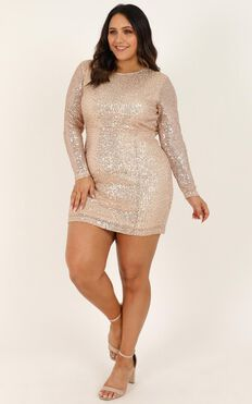 Glitter Feeling Dress In Gold Sequin