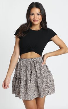 Kassidy Mini Skirt in beige spot