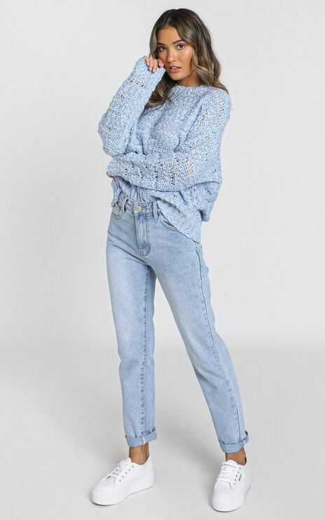 Margie Textured Knit Jumper in Blue