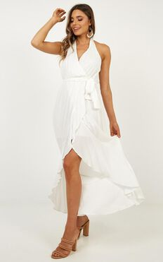 Beyond The Horizon Wrap Dress In White