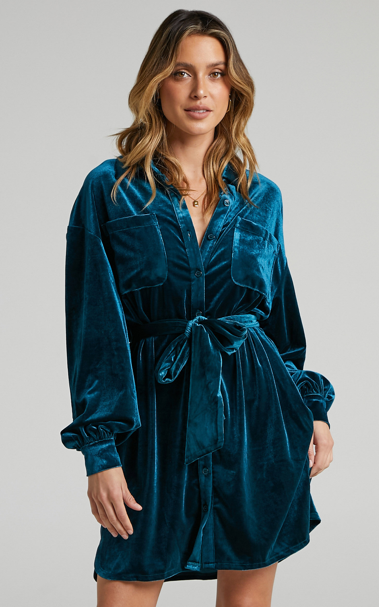 Devreux Button Up Collared Shirt Dress in Petrol Velvet - 06, GRN1, super-hi-res image number null