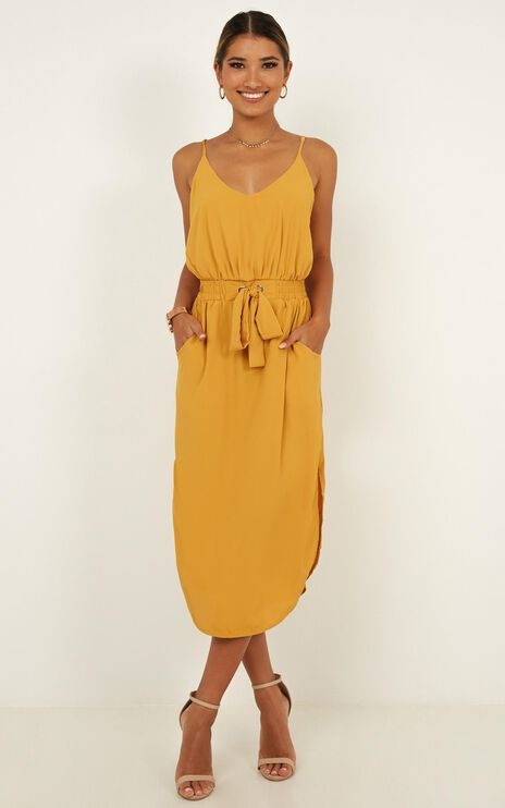 Get Things Done Dress In Mustard