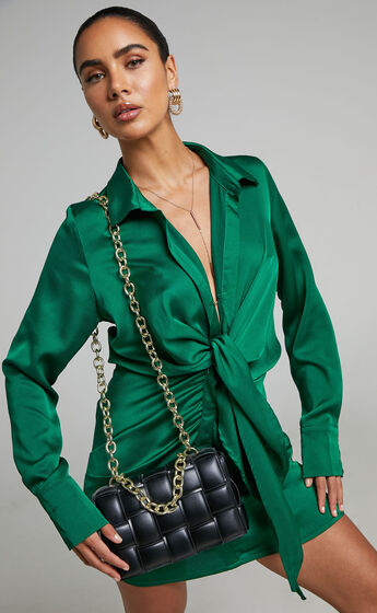 Runaway The Label - Ruby Shirt Dress in Emerald