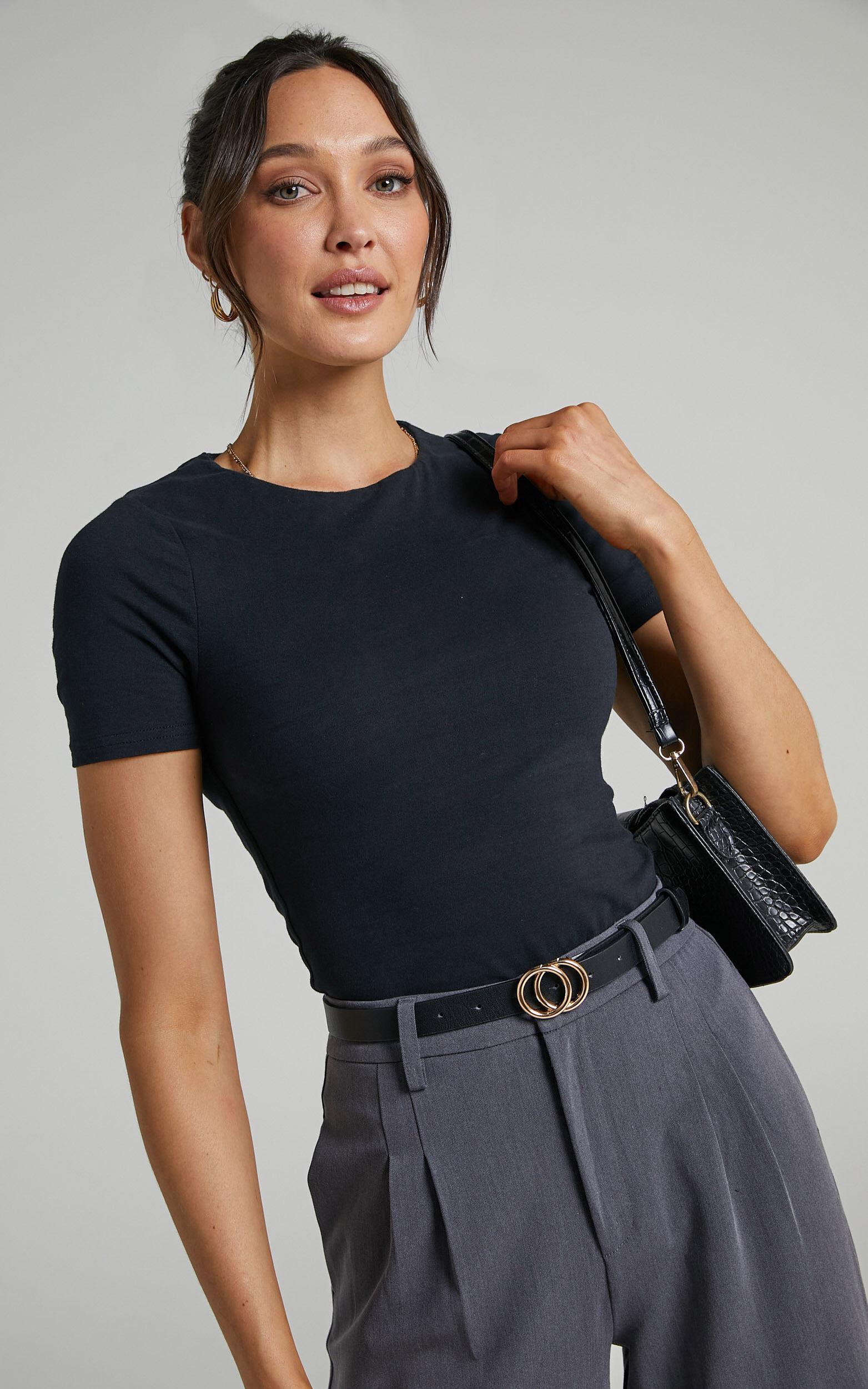 Alexie High Neckline Tshirt in Black - 06, BLK1, super-hi-res image number null