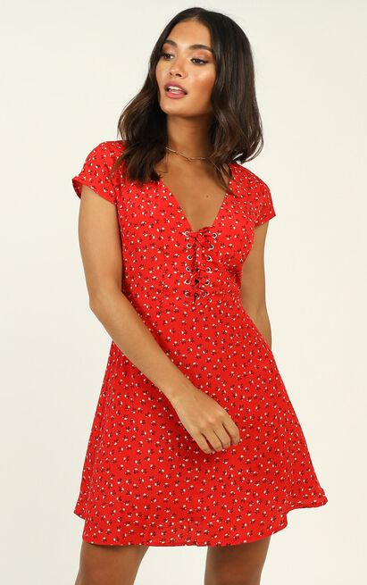 Secret Cure dress in red print - 20 (XXXXL), Red, hi-res image number null