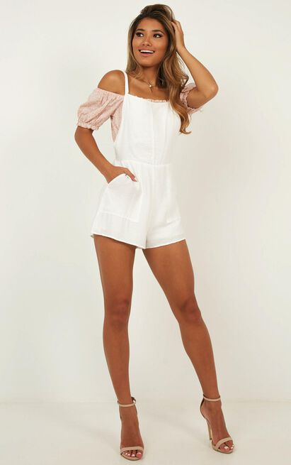 Bird Sounds Playsuit In White - 6 (XS), White, hi-res image number null
