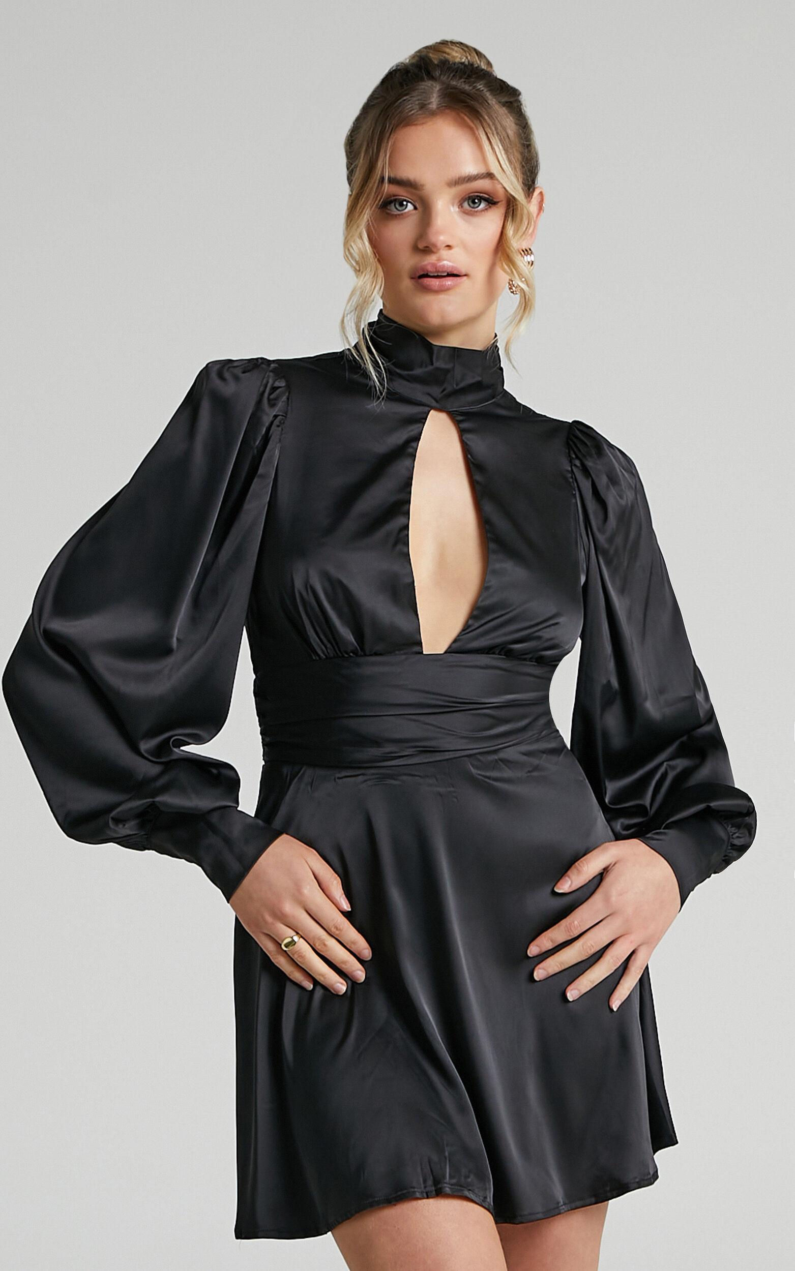 Adrianne Backless High Neck Mini Dress in Black Satin - 06, BLK1, super-hi-res image number null