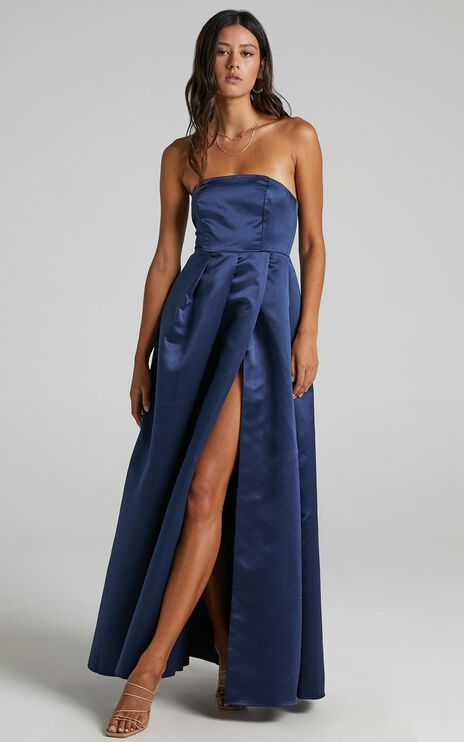 Queen Of The Show Dress In Navy Satin