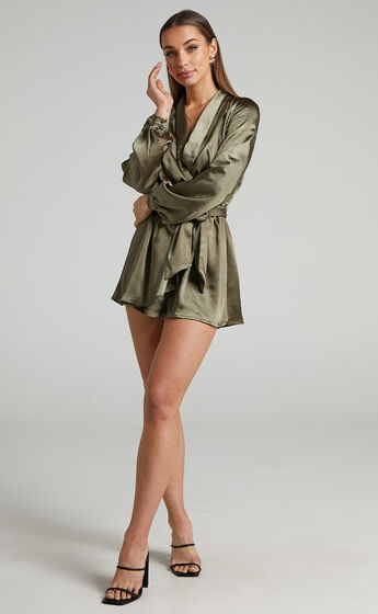 Leo Long Sleeve Wrap Neckline Playsuit in Olive Satin
