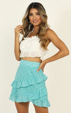 Know A Secret Skirt In Blue Print