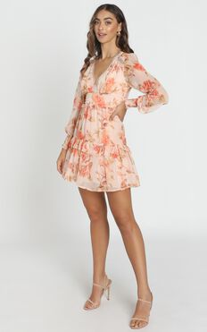 Lucy Dress in peach floral